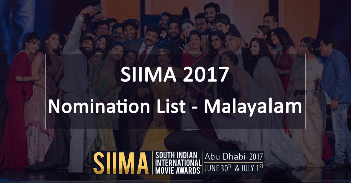 SIIMA Nomination List Malayalam Banner