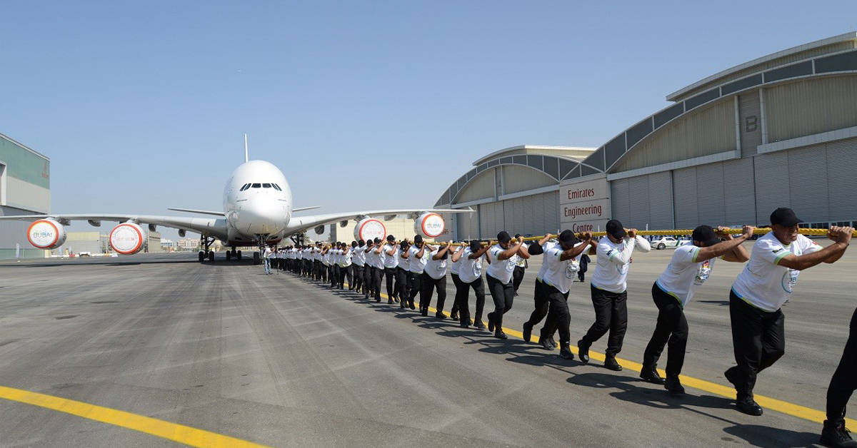 Dubai Police World record for pulling the heaviest aircraft