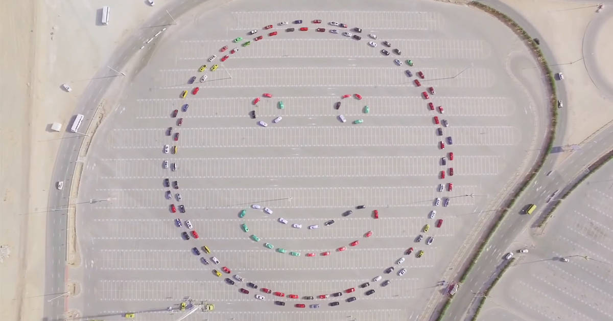 World record for forming a massive smiley